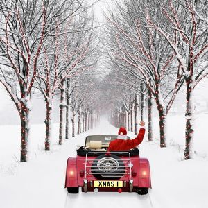 Avenue of Trees - with Father Christmas driving through - in snow - winter