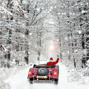 Father Christmas - in car - snow scene