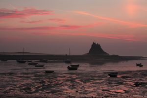 Lindisfarne Castle - at dawn over harbour