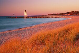 USA - Charlevoix Lighthouse and beach at sunset