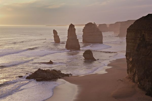 Australia, Victoria - The Twelve Apostles with collapsed stack in foreground (collapsed 3rd July 2005)