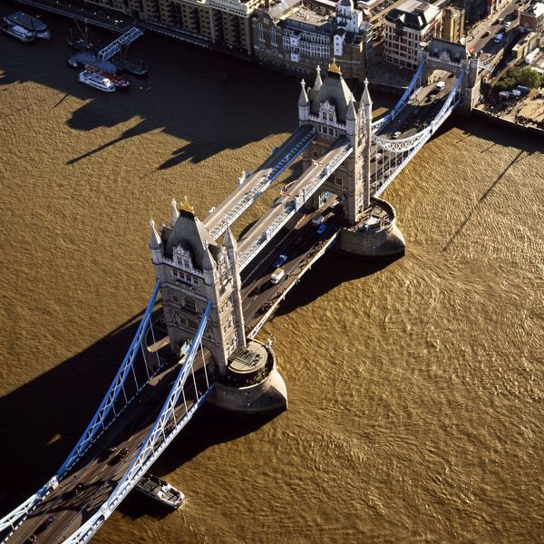 AW-6590  Tower Bridge (a combined bascule and suspension bridge), over the River Thames Aerial image of London, England, UK Adrian Warren Please note that prints are for personal display purposes only and may not be reproduced in anyway