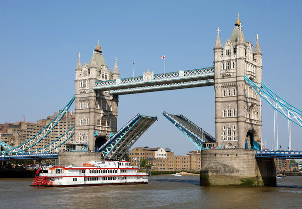 Tower Bridge raised for Dixie Queen Paddlesteamer on the River Thames in London. Date