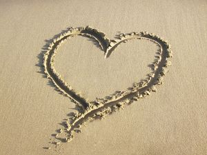 ABM-1 Heart drawn in the sand of a beach