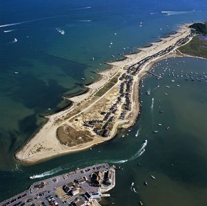 Aerial view - Groynes, Hengistbury Head, Christchurch Harbour