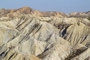 Bare ridges of eroded sandstone in the badlands of the T