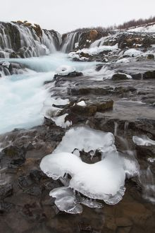 Bruarfoss Waterfall winter