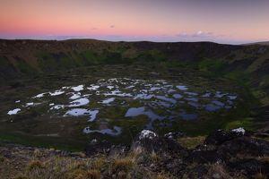 Caldera of Rano Kau volcano, 1.6 km across, with