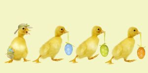 Ducklings - carrying Easter eggs - one wearing a straw hat