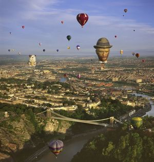 England - Aerial view, Hot-air Balloons over Clifton