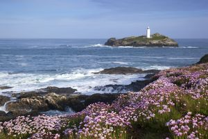 Godrevy Island and Lighthouse - from Gwithian - thrift