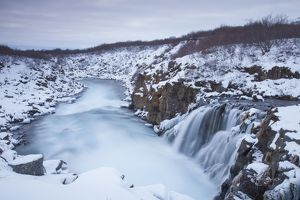 Hlauptungufoss Waterfall winter