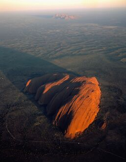 JPF-12924 Uluru (Ayers Rock) at sunrise, aerial