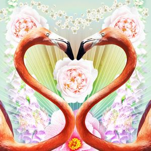Kitsch design of Flamingos creating a heart shape with flowers