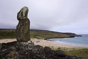 Moai on Ahu Ature Huki. Anakena Bay. Easter Island