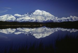 Mt. McKinley (Denali) from Reflection Pond, Denali National Park, Alaska, North America. June, late evening