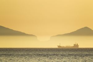 Oil Tanker passing South Uist
