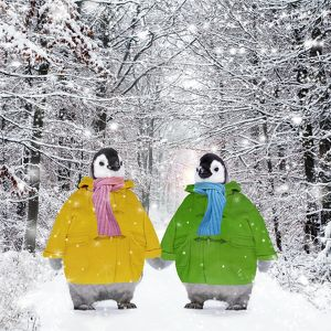 Penguins - in duffle coats & scarves - holding hands