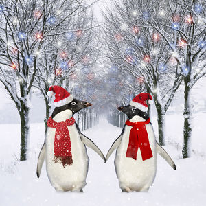 Penguins, holding hands wearing Christmas hats walking