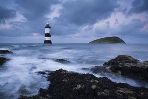 Puffin Island and lighthouse Winter