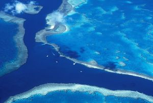 REEF - Aerial of Great Barrier Reef Marine Park Queensland, Australia