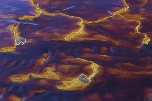Detail of the Rio Tinto Red river with its deep redd
