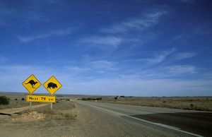 Road sign: Kangaroos and wombats, next 92 km.Eyre