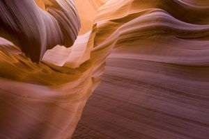 Sandstone rock in the Lower Antelope Canyon, probably the most famous 'slot