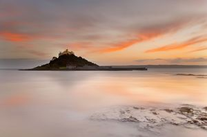 St Michael's Mount - from the beach at Marazion - at sunset
