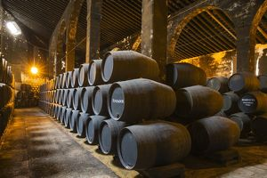 Stacked oak barrels in one of the cellars at the Bodegas