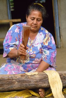 Tonga - tapa cloth being made from tree bark