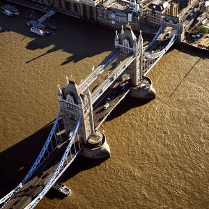 Tower Bridge (a combined bascule and suspension bridge), over the River Thames