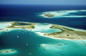 VENEZUELA - Los Roques, Aerial view of Islands & Lagoons.