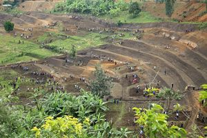 Workers Rwandan community collectively working the